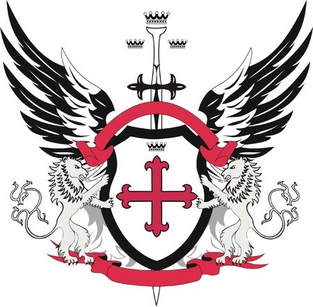 cruz roja: Escudo her�ldico con flory cruz y la espada