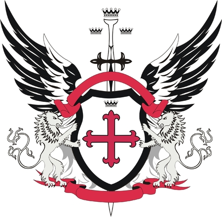 Heraldic shield with cross flory and sword Vector