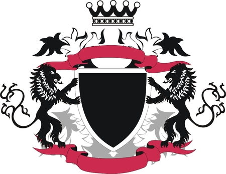 Grunge heraldic shield with black lions Vector