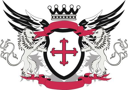 lion wings: Grunge her�ldica escudo con la cruz Flory y leones Vectores
