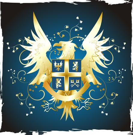 golden eagle: Grunge shield with golden eagle and fleur-de-lis
