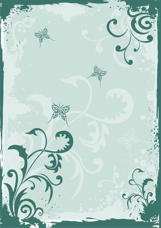 Grunge green floral background Stock Vector - 5199754