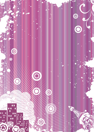 Grunge pink background with urban elements Stock Vector - 5233082