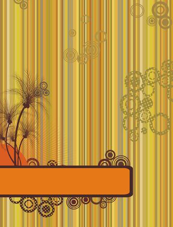 brownish: Grunge retro summer frame with palms Illustration