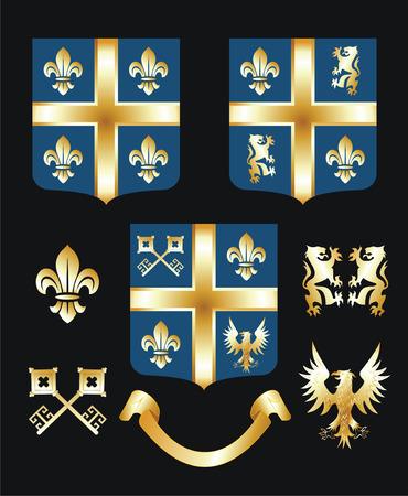 Golden heraldic elements Vector