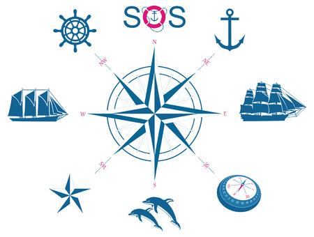 rosa dei venti: Serie di simboli vettoriali nautiche