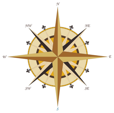 compass rose: Vintage wind rose compass