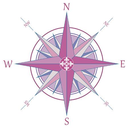 Retro compass with fleur-de-lis Vector