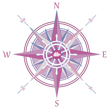 nautical compass: Vintage wind rose compass
