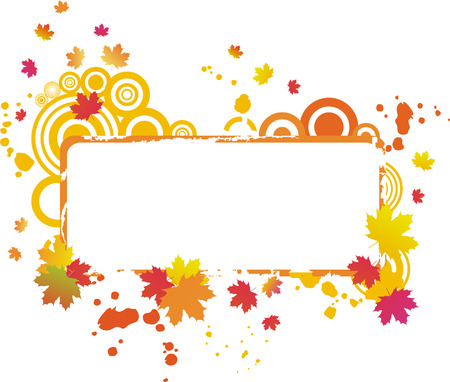 autumnal: Grunge autumnal frame with maple leaves Illustration