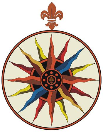 Vintage vector compass with fleur-de-lis Vector