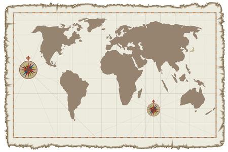 seafaring: Antiguo Mapa del mundo de vector