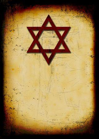 Grunge burned jewish background with David star Stock Photo - 5515300