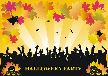 partying: Halloween background with partying people Illustration