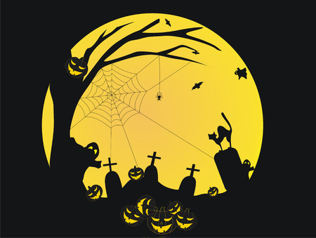 churchyard: Halloween background with ghosts,cat,pumpkins and graves Illustration