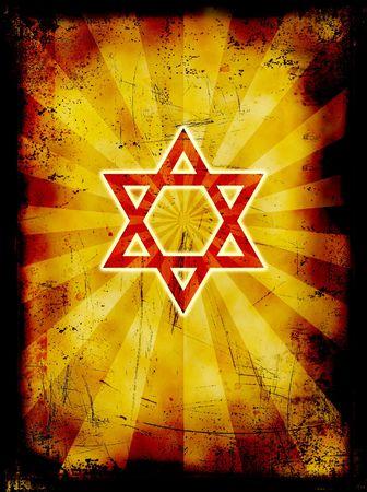Yom Kippur grunge jewish background with red David star photo