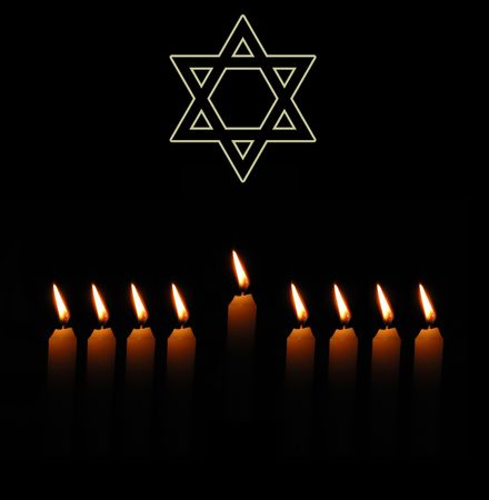 Jewish holiday background with David star and candles Stock Photo - 5539825