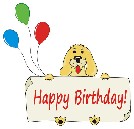Happy Birthday background with dog and balloons Vector