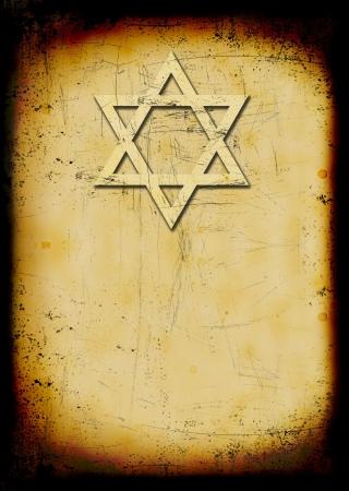 Grunge burned jewish background with David star Stock Photo - 5549140