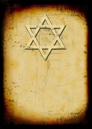 jewish star: Grunge burned jewish background with David star Stock Photo