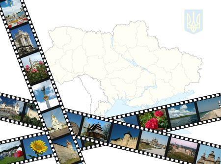 Background with ukrainian map,emblem and filmstrips with travel shots photo
