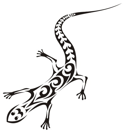 Lizard - vector tribal tattoo Stock Vector - 5593097