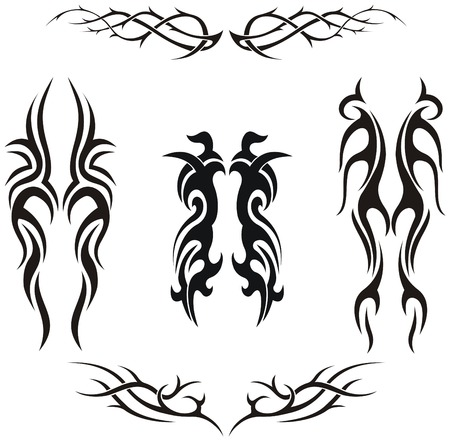 Set of vector tribal tattoos Stock Vector - 5610513