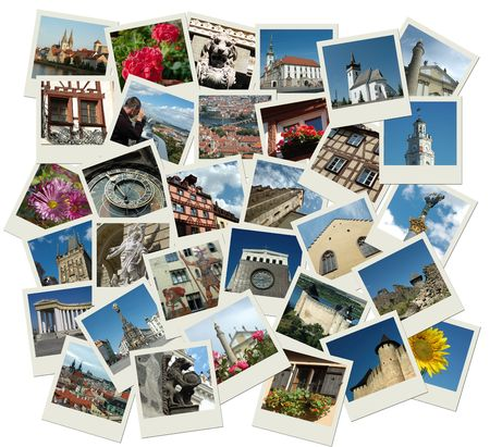 Stack of photo shots with central and eastern europe landmarks
