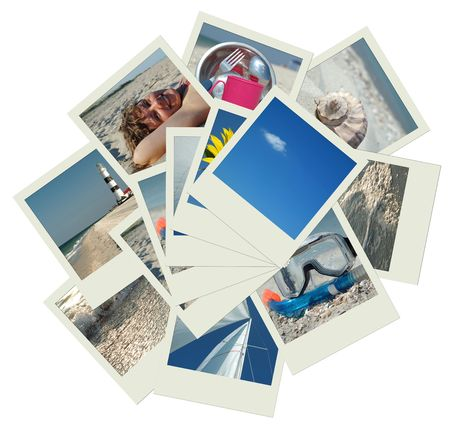 Stack of photo shots with vacation travel photos photo