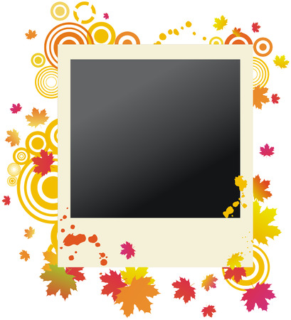 Grunge autumnal polaroid with maple leaves Stock Vector - 5638897