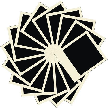 snapshot: Circle stack of blank polaroids