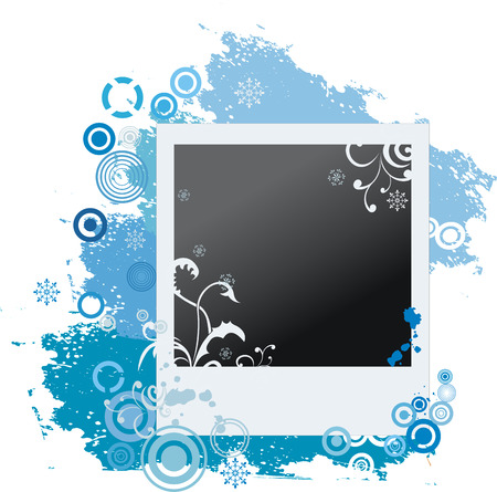 Winter grunge polaroid with snowflakes Vector