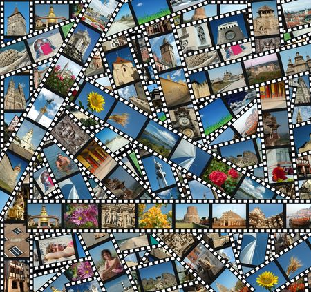 Background with travel filmstrips photo