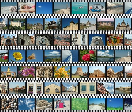 Background with horizontal travel filmstrips photo