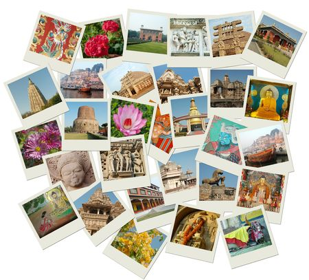Stack of photo shots with central and nothern India landmarks photo