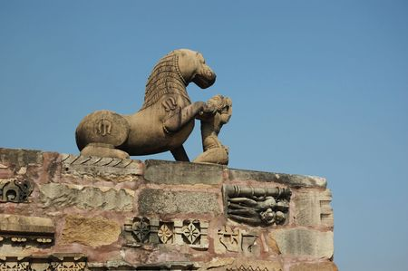 khajuraho: Statue of Lion at Khajuraho, famous hindu sacred place Stock Photo