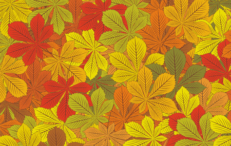 greenish: Autumn horse-chestnut leaves background