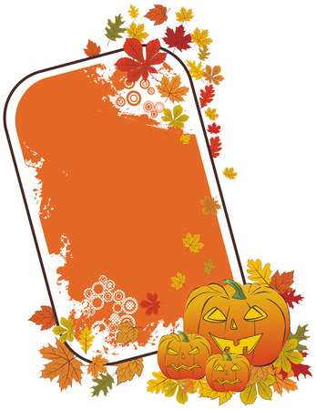 Halloween pumpkin frame with autumn leaves Vector