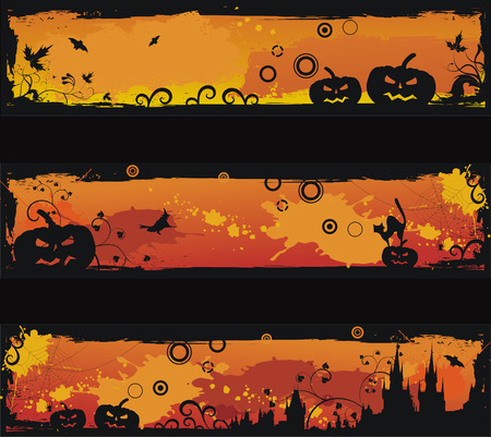ghost town: Three grunge halloween banners