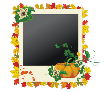 Autumn photo frame with leaves and pumpkin  Vector
