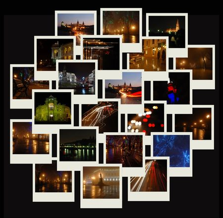 Stack of photo shots with night cityscapes Stock Photo - 5857158