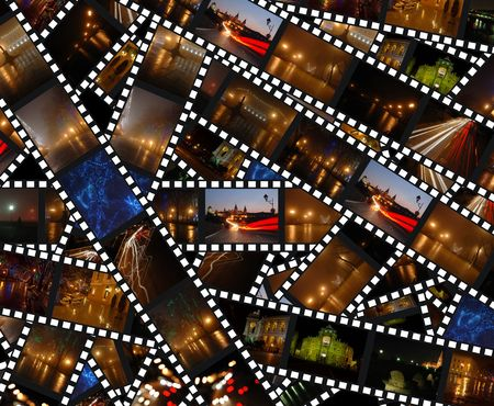 Filmstrips with night city landscapes - background photo