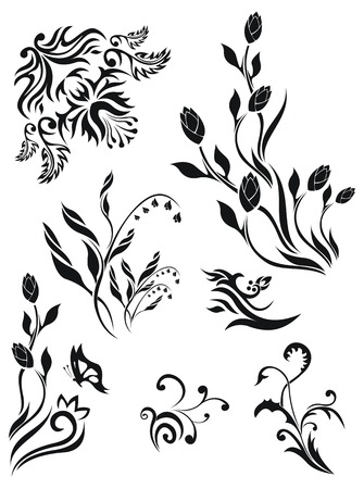 lily flowers collection: Collection of vector floral patterns