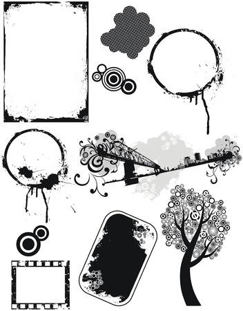 construction frame: Set of grunge vector elements