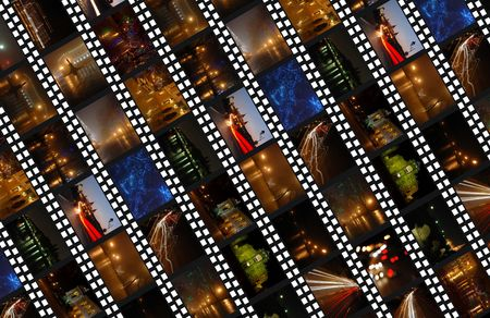 Filmstrips background with night cityscapes photo