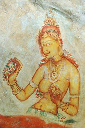 Wall Painting In Sigiriya Rock Monastery, Sri Lanka photo