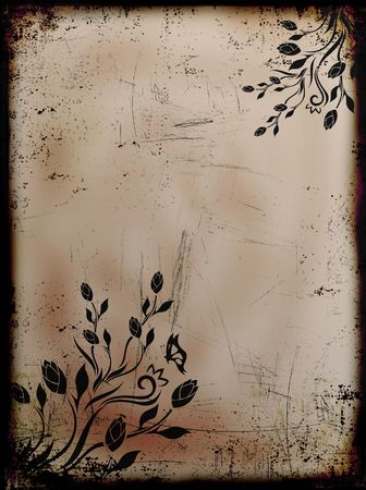 Grunge burned floral background with butterflies photo