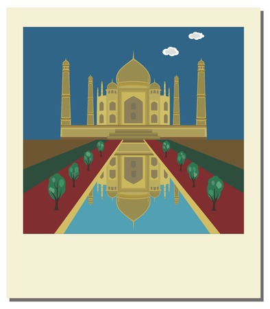 Old vintage photo with Taj Mahal, famous landmark of India Stock Vector - 6466741