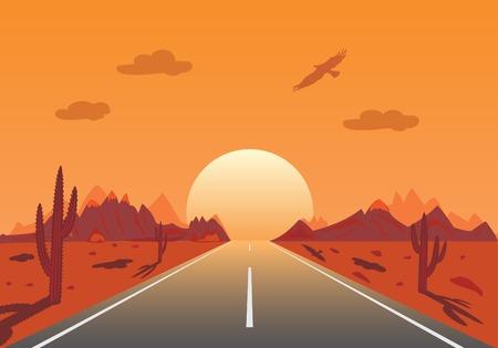 cactus desert: Sunset Road in Mexicaanse woestijn  Stock Illustratie