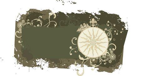 jorney: Grunge vintage travel frame with wind rose Illustration